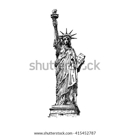 Statue of Liberty, engraving style, vector illustration