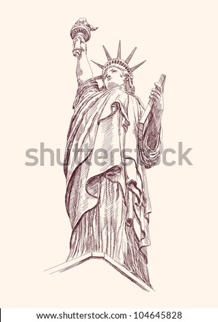 Statue of Liberty hand drawn vector llustration realistic sketch - stock vector