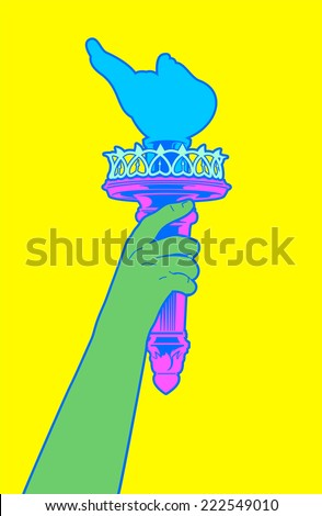 Statue of liberty Hand holding her torch with pop colors. - stock vector