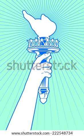 Statue of liberty hand holding torch. - stock vector