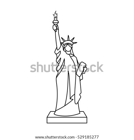 Outline statue liberty stock images royalty free images for Statue of liberty drawing template