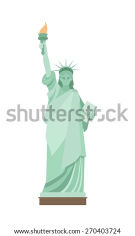 Statue of Liberty in New York. Flat style. - stock vector