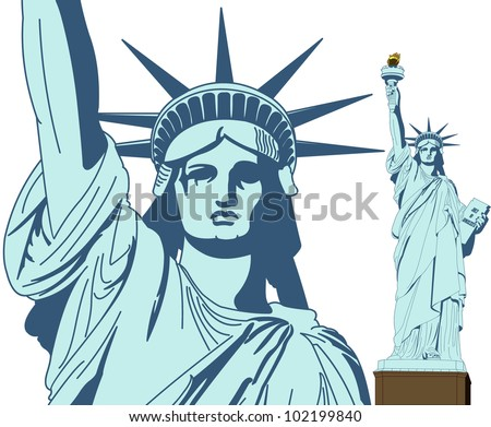 Statue of Liberty in Vector Art with very high detail level - stock vector