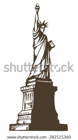 Statue of Liberty is colossal female figure on Island in New York Harbor. Vector monochrome freehand ink drawn background sketchy in art scribble antique style pen on paper with space for text on sky - stock vector