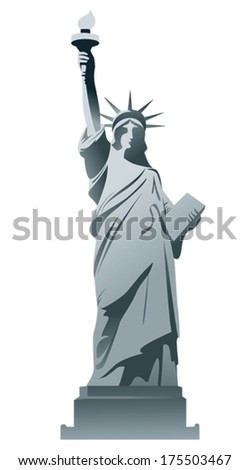 Statue of Liberty isolated on a white background.