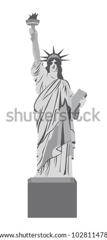 statue of liberty isolated over white background. vector illustration - stock vector