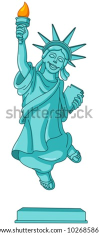 Statue of liberty jumping in the air - stock vector