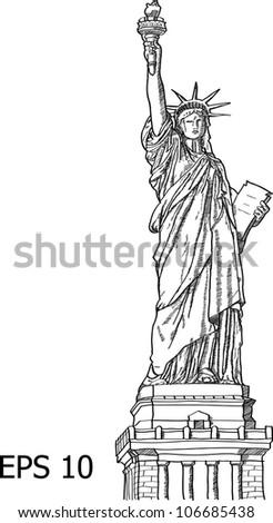 Statue of Liberty (Liberty Enlightening the World ) Line Vector Illustrator, EPS 10. - stock vector
