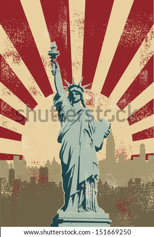 Statue of Liberty, New York City, vector - stock vector