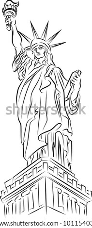 Statue of Liberty. New York, color vector - stock vector