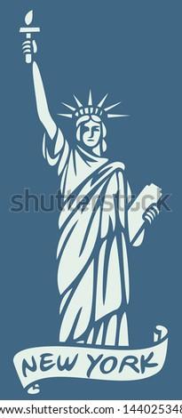 statue of liberty (new york design) - stock vector