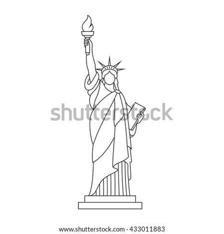 statue of liberty new york landmark outline illustration