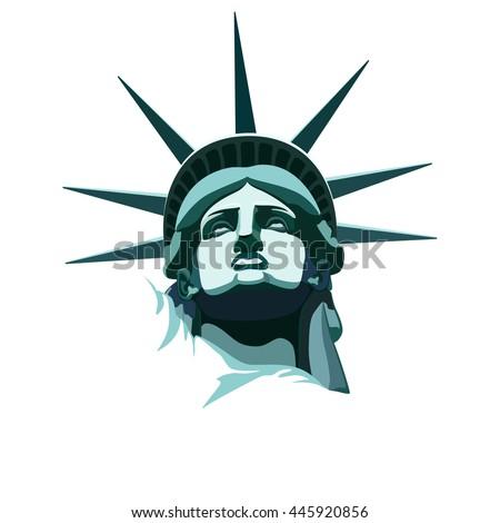 statue liberty new york landmarkusabronze portrait stock