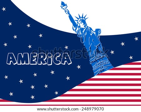 Statue of Liberty, New York, USA world famous landmark - vector eps10