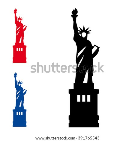Statue of Liberty. New York vector icon on white background.