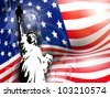Statue of liberty on American flag  background for 4th July American Independence Day and other events. Vector illustration. EPS 10. - stock
