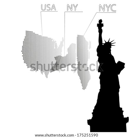 Statue of Liberty on the map, New York. Vector illustration - stock vector