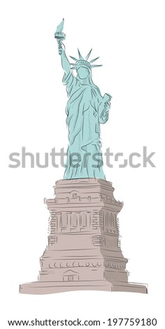 Liberty statue at sketches stock photos images for Statue of liberty drawing template