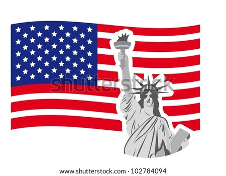 statue of liberty over flag isolated over white  background. vector - stock vector