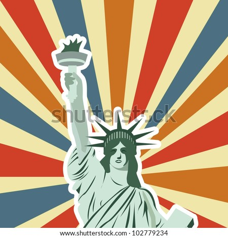 statue of liberty over vintage background. vector illustration - stock vector