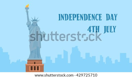 Statue of Liberty Silhouette United States Independence Day New York View Vector Illustration - stock vector