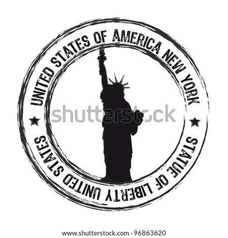 statue of liberty stamp isolate over white background. vector
