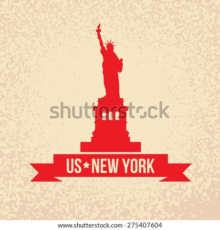Statue Of Liberty - The symbol of US, New York. Vintage stamp with red ribbon on an old paper background