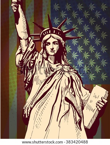 Statue of Liberty, USA flag with cannabis leafs, vector - stock vector