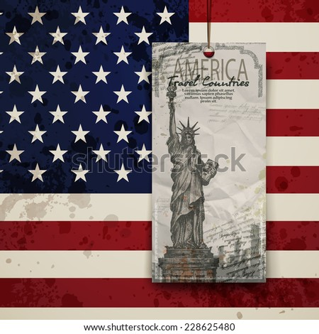 Statue of Liberty. USA. New York landmark and symbol of Freedom and Democracy. - stock vector
