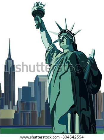 Statue of Liberty vector illustration. New York City skyline is full background on separate layer. - stock vector