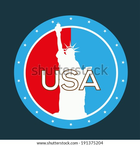 Statue Of Liberty vector label - stock vector
