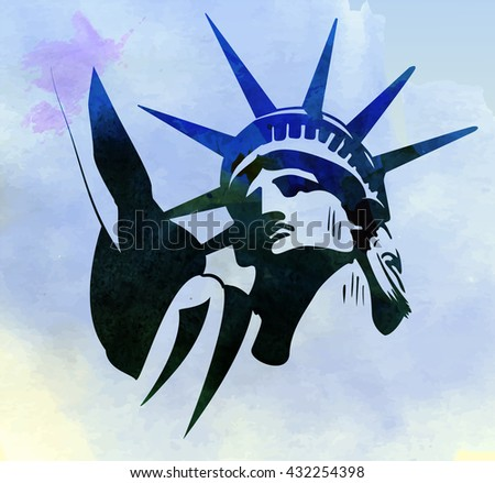 Statue of Liberty watercolor painting vector image - stock vector