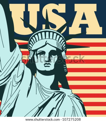 Statue of Liberty with a large american flag in the background in vector art - stock vector