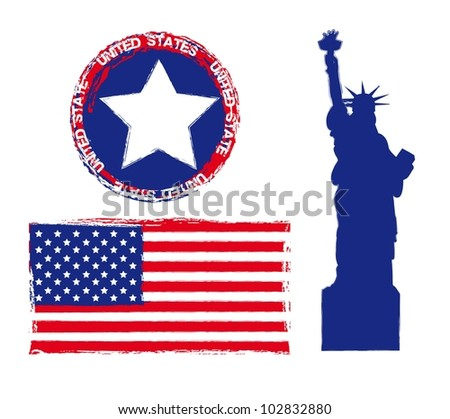 statue of liberty with seal and flag, united states. vector - stock vector