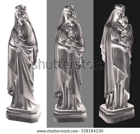Statue Of Madonna With Child Vector 01. Protection and security concepts. - stock vector