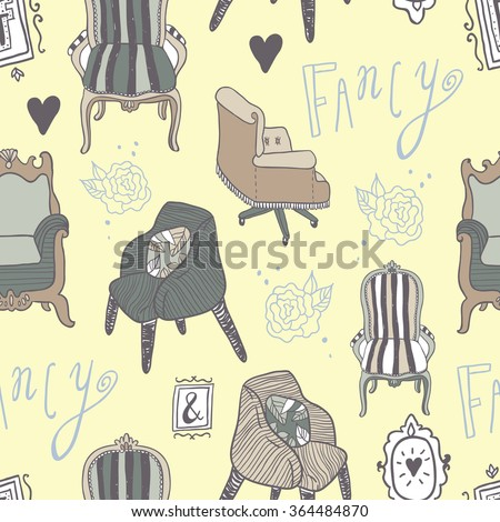 Stay Fancy seamless vector pattern. Hand drawn furniture, interior decorations and frames. Hand lettering.