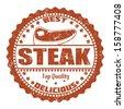Steak grunge rubber stamp on white, vector illustration - stock vector