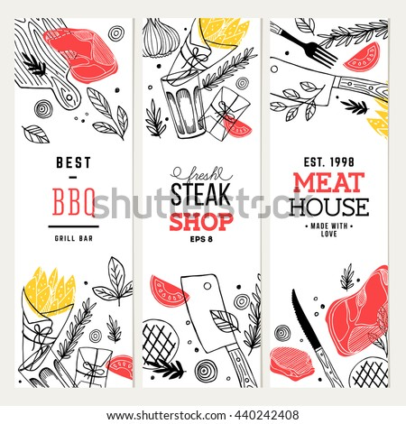 Steak house banner collection. Line art graphic. Restaurant template. Vector illustration - stock vector