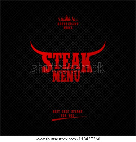 Steak Menu Card Design template. - stock vector