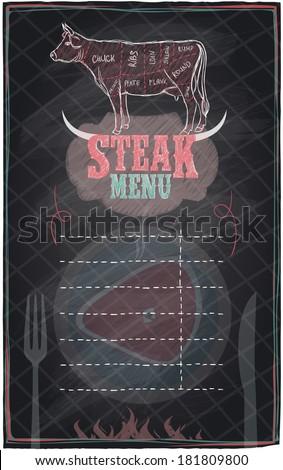 Steak menu chalkboard design with cow steak diagram.Eps10. - stock vector