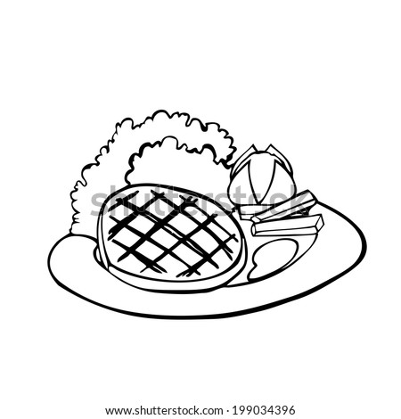 steak coloring page - mashed potatoes clip art black and white sketch coloring page