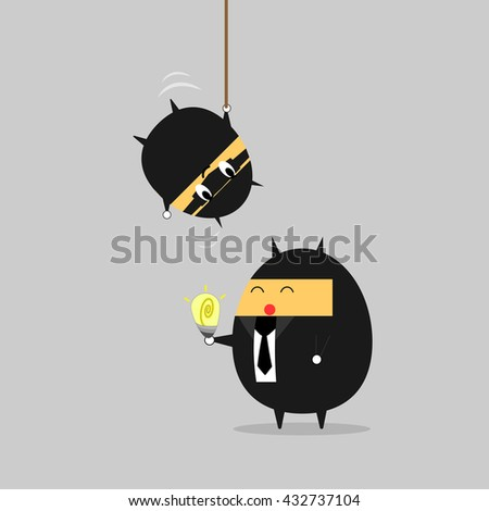 Steal Idea. Beware your idea!!! Business vector illustration cartoon character abstract concept.. - stock vector