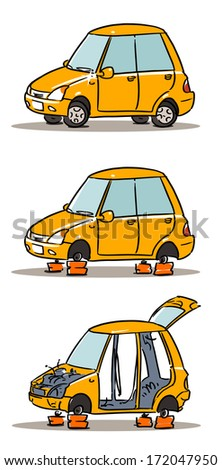 stealing car spare parts. Car insurance - stock vector