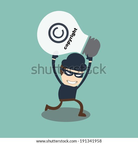 Stealing copyright concept  - stock vector
