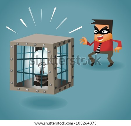 Stealing Idea. Vector illustration
