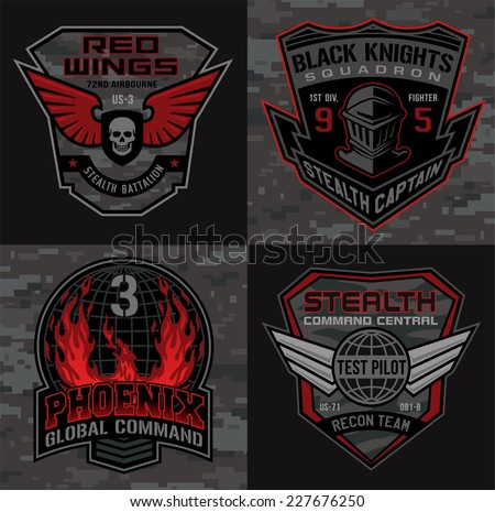 Stealth pilot military patch set - stock vector