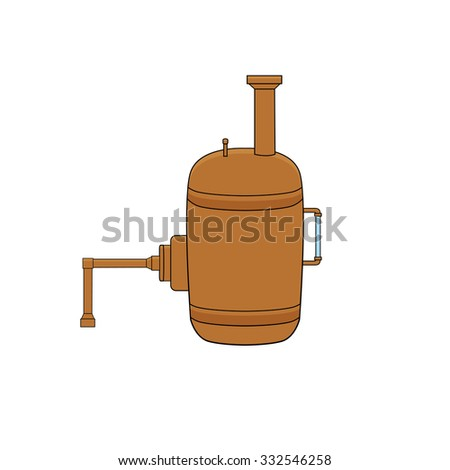 Steam boiler in doodle style - stock vector