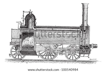 Steam Locomotive (longitudinal cross-section), vintage engraved illustration. Dictionary of Words and Things - Larive and Fleury - 1895 - stock vector