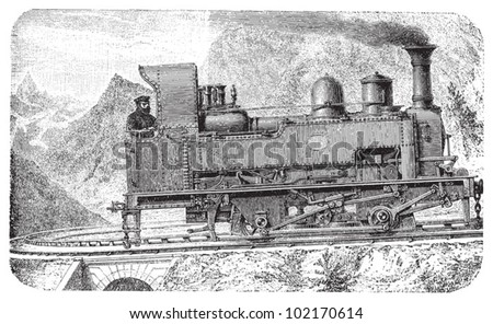 Steam locomotive - mountain railway / vintage illustration from Brockhaus Konversations-Lexikon 1908 - stock vector