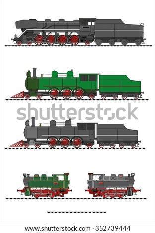 Steam locomotive set - stock vector